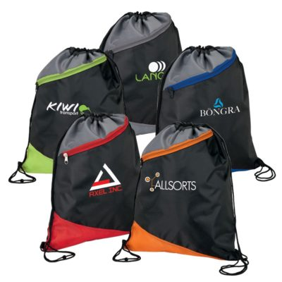 3 Tone Angled Design Drawstring Sport Bag w/ Zip Pocket